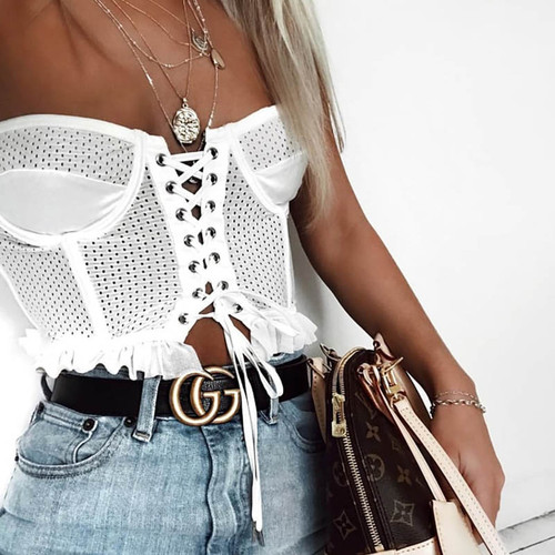White Lace up Crop Top Women Sexy Off Shoulder Tees Camis Summer Hollow Out Tank Tops Cool Girls Streetwear Bras Camisole