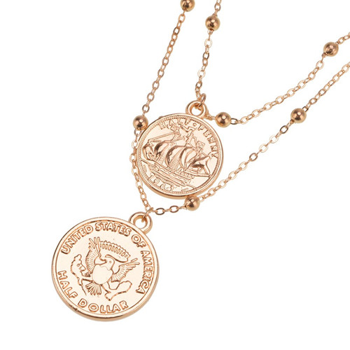 fashion Cute Simple Statement cross Maxi Round Coin Necklaces Vintage multi-layered rosary pendant necklace Women Jewelry
