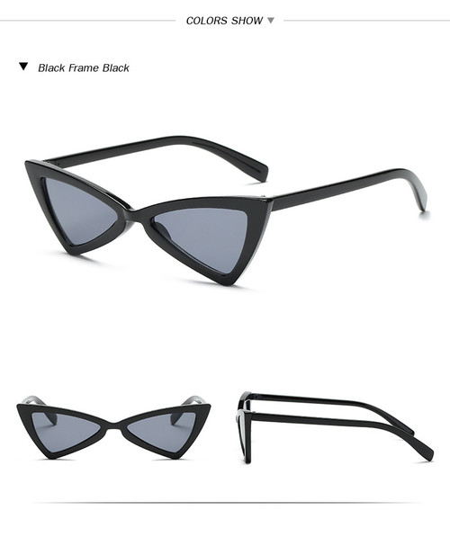 640992a378a Vintage Women Sunglasses Triangle Black Ladies Sunglass Retro Red Color  Eyewear Gradient Lens Cat Eye Sun Glasses