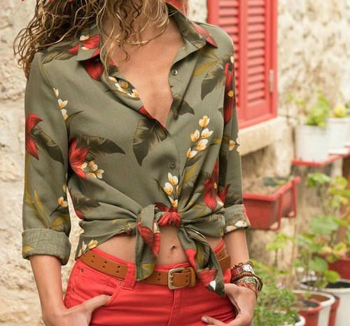 women blouse shirt floral autumn long sleeve boho chiffon blouse big size stripe casual ladies tops female clothing