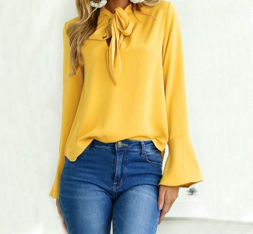 Women Bow Blouse Shirt Long Sleeve 2018 Black Office Blouses Female Business Career Tops feminine blouse large size