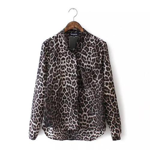 638f30c8be5679 Fashion Women Elegant Sexy Leopard Print Chiffon Blouses Vintage Collar  Long Sleeve Shirts Casual Tops Female Clothing