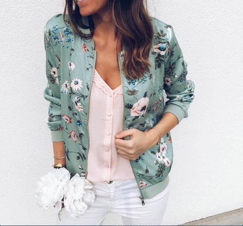 female basic jacket coat 90s bomber jacket women female cape autumn flower ladies coats 2018 korean fashion