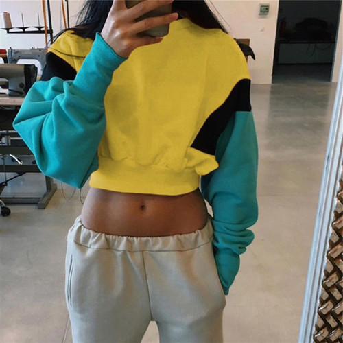 women cropped hoodie sweatshirt patchwork pullovers oversized hoodies female sweatshirt Casual 2018 crop top