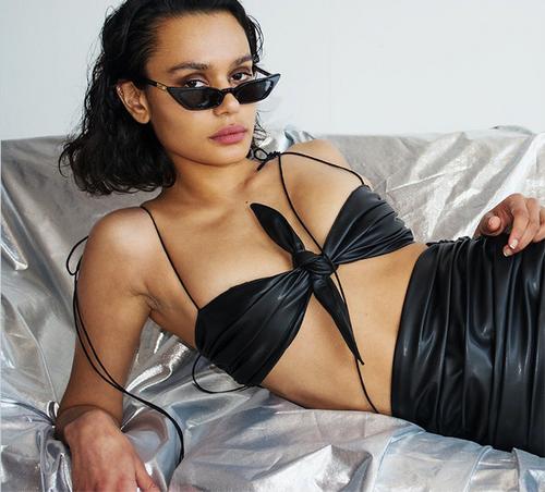 Black PU leather spaghetti straps tank top 2018 summer women crop top fashion party club wear sexy camis