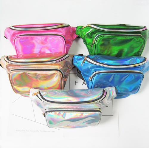 2018 Fashion New Men Laser Waist Bag Leather Belt Waterproof Bag Phone Women Thighbags Fanny Pack Holographic Leg Bag