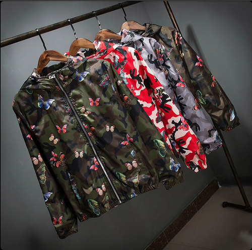 High Quality Womens Summer Camo Windbreaker Jacket Thin Female Camouflage Butterfly Windbreaker Coats Spring Hooded Windbreaker