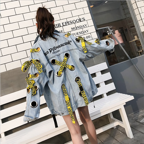 Autumn Eyelet Holes Vintage Harajuku Coat Embroidery Ribbons Denim Jacket For Women Female loose Streetwear Basic Coats