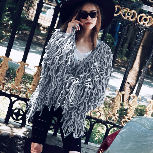 Warm Knitting Shaggy Jacket Coat Women Sweater Soft Black Female Overcoat Autumn Winter Hairy Faux Fur Coat Cardigan {Gray}