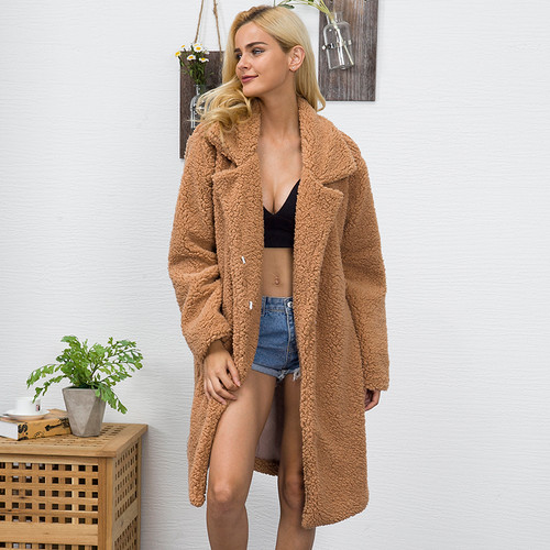 NEW Women Fur Coat teddy coat 2018 Winter Fluffy Shaggy Faux Long Fur Coat Fashion Thick Warm Jacket Black/Beige Outwear Pele