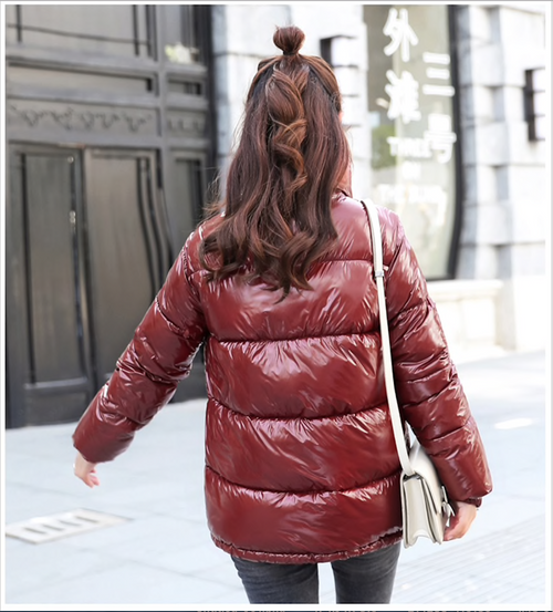 2018 New Winter Glossy Down Parka For Women Warm Bright Kindy Color Jacket Female Slim Zipper Jacket women windbreaker Coat {Coffee}