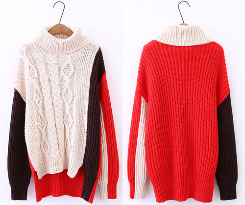 16ace8b485e3 ... 2018 Autumn Winter Knitted Turtleneck Long Sleeve Sweater Women Hit  Color Soft Warm Pullover Loose Female ...