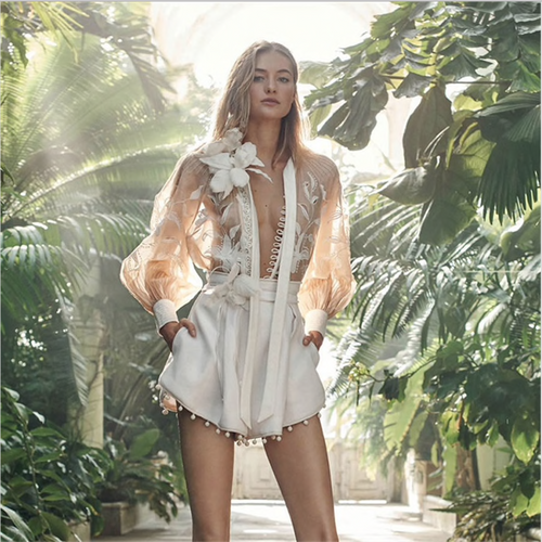 Autumn White Floral Embroidery Deep V-neck Blouse and Shorts Women 2 Piece Sets