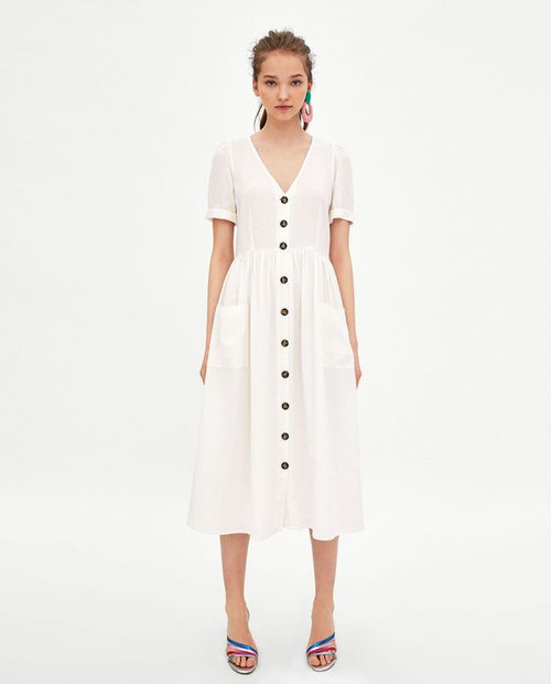 MIDI DRESS WITH BUTTONS ZARA