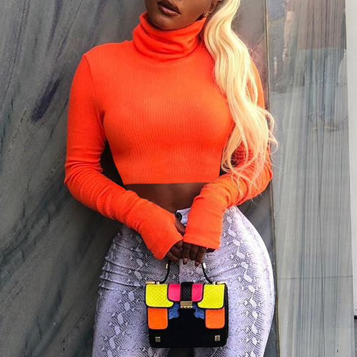 Women Turtleneck Ribbed Sweatshirt Long Sleeve Fluorescent Color Pullovers Crop Slim Mujer Warm Knit Jumpers Short Tops