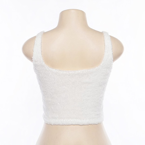 b0832c6eaa6b53 Cute Sexy Fuzzy White Crop Top Cami Women Casual Tops Deep V Neck Backless  Fluffy Ladies Tank ...