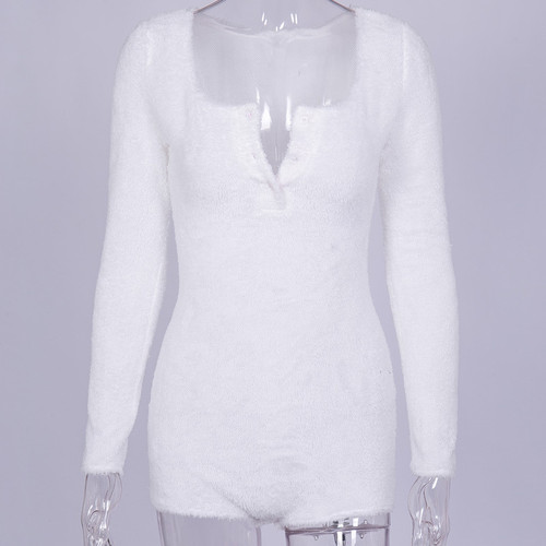 White Fluffy Bodycon Playsuit Women Ladies Sexy Long Sleeve Jumpsuit Bodysuit Sleep Romper Sexy One Piece Outfits