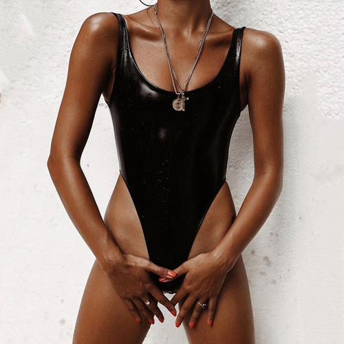 2019 New Sexy PU Leather Swimsuit One Piece Swimwear Women Solid Black Thong Bathing Suit Monokini Swim Suit Swim Wear for Women