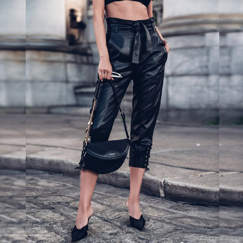 PU Leather Pants Women High Waist Black Trousers Women Ruffle Sashes Sexy Pencil Pants Casual Solid Autumn Streetwear