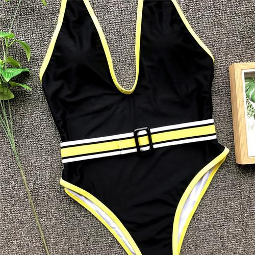 6a0587ce82 Deep v-neck swimsuit fused Halter brazilian bikini High cut swimwear women  Thong bathers Push up ...