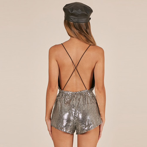 4f1b4d4ab9 New Sequin Strap Playsuit V-neck Sexy Club Party Rompers Sleeveless  Backless 2019 Silver Summer Birthday Short Jumpsuit