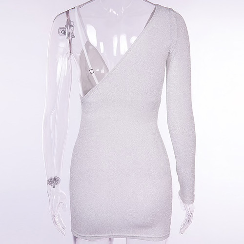 7d6a2f57ed9 Bling Bling Glitter Dress One Shoulder Spaghetti Strap Patchwork Sexy Dress  Backless Mini Summer Dresses Vestidos