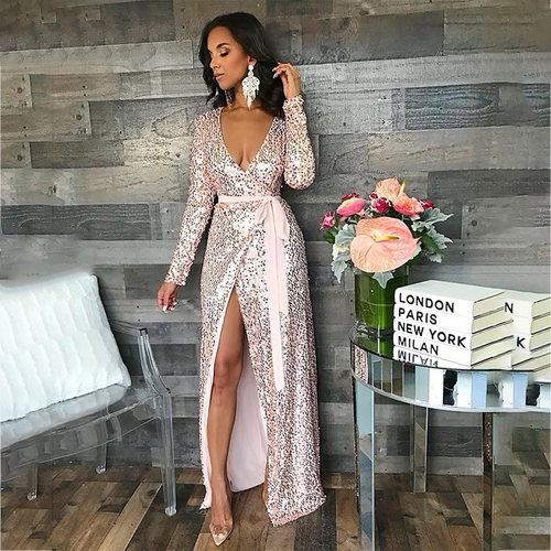 Sequin Maxi Dress Women Sexy High Split Long Dress 2019 Solid V Neck Autumn  Winter Dresses Vestidos 63e45fdbe59c