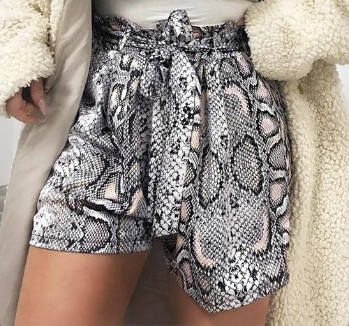 Sexy snake print high waist shorts women Sash elastic summer shorts female Casual animal pattern vintage fashion bottoms