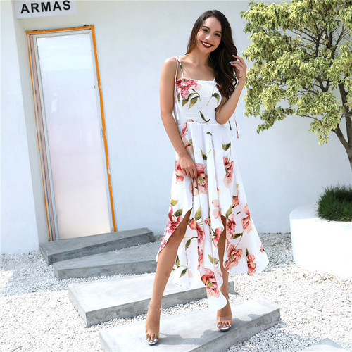 summer women bohemian asymmetrical floral printed a line dress casual spaghetti strapless dress sexy long dress