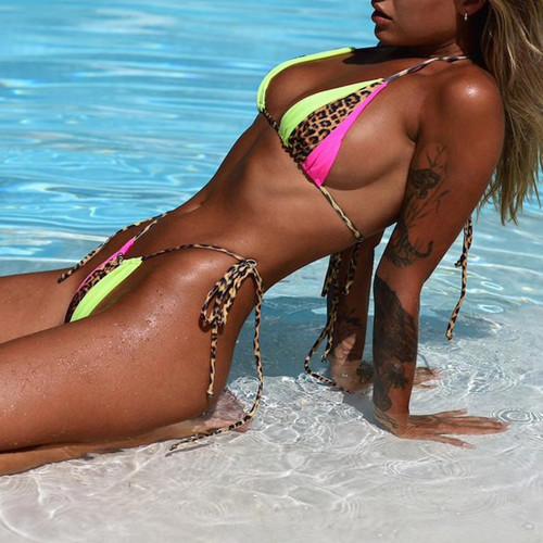 436c9812fd Summer 2019 beach wear neon biquini Micro string swimsuit push up sexy  bikini set Patchwork leopard ...