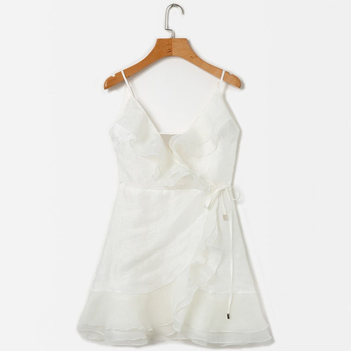 8ebfbfd31a1 Woman Beach Summer Dress 2018 Elegant Ruffle Organza Dress Women V Neck  Sleeveless Spaghetti Strap Casual ...