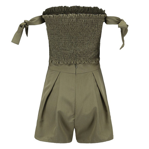 2967d138a80 2 Piece Set Women Outfits Strapless Tie Sleeve Tube Crop Top And High Waist  Shorts Two ...