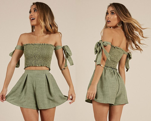 f4b1a47e204 2 Piece Set Women Outfits Strapless Tie Sleeve Tube Crop Top And High Waist  Shorts Two Piece Set Summer 2019 Woman Clothes
