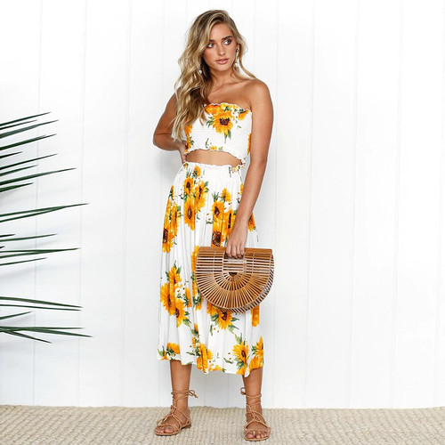 Summer floral print 2 piece set dress women sexy strapless wrapped crop top high waist midi dress 2019 beachwear robe sunflower