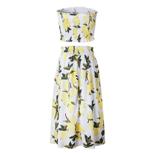 b10dc92a0a7c Summer floral print 2 piece set dress women sexy strapless wrapped crop top  high waist midi ...
