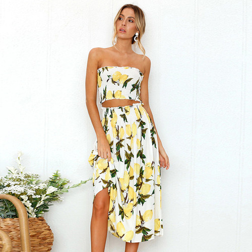 Summer floral print 2 piece set dress women sexy strapless wrapped crop top high waist midi dress 2019 beachwear robe Lemons