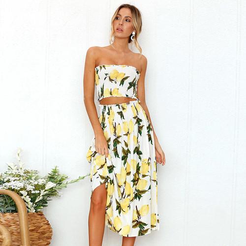 Summer floral print 2 piece set dress women sexy strapless wrapped crop top high waist midi dress 2019 beachwear robe Lemons