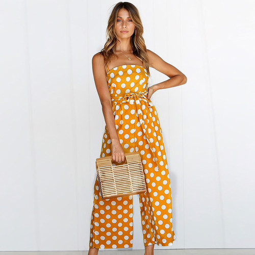 Polka Dot Camisole Jumpsuit Women Rompers Summer Woven Strapless Belted Wide Leg Pants Jumpsuit Casual Overalls Femme