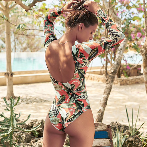 Leaf print bikini 2019 Vintage women bodysuit Backless sexy one piece swimsuit female Long sleeve swimwear Padded 1 piece