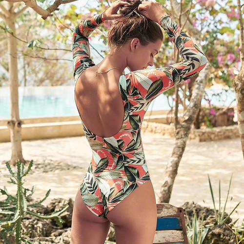 Leaf print bikini 2019 Vintage women bodysuit Backless sexy one piece swimsuit female Long sleeve swimwear Padded 1 piece