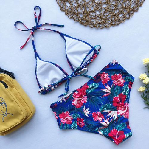 aced21bbd01 Floral print bikinis 2019 mujer Triangle swimsuit separate Push up swimwear  women Micro bikini set Tie ...