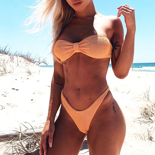 High cut swimsuit female bathers Bandeau micro bikini 2019 Sexy thong swimwear women brazilian biquini Ribbed bathing suit