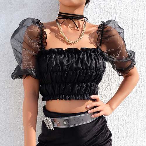 Chic Fashion Ruched Black Women's Blouse Shirt Puff Sleeve Backless Crop Top Elegant Square Collar Blouses Ruffles