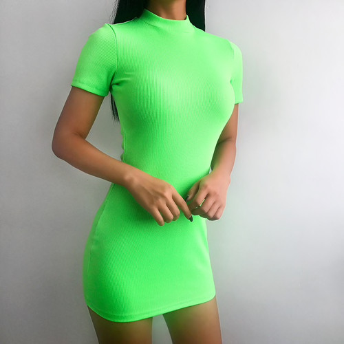 Skinny Fluorescent Green Slim Summer Dress Women 2019 Turtleneck Short Sleeve Bodycon Spring Stretch Mini Dress Party