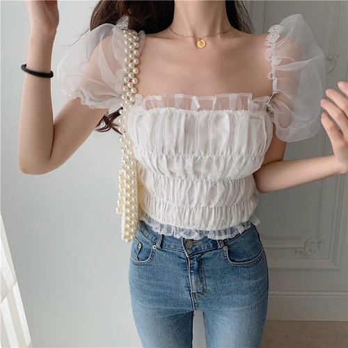 Elegant chiffon ruffles women blouse Korean chic lace patchwork slim tops female Fashion solid sweet girl blouses 2019 new