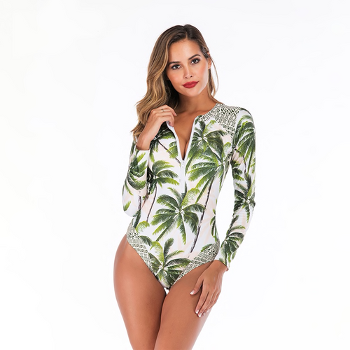 Swimming Suit For Women Palm Pritned One Piece Swimsuit Front Printed Womens Bathing Suits Bodysuit Beach Wear