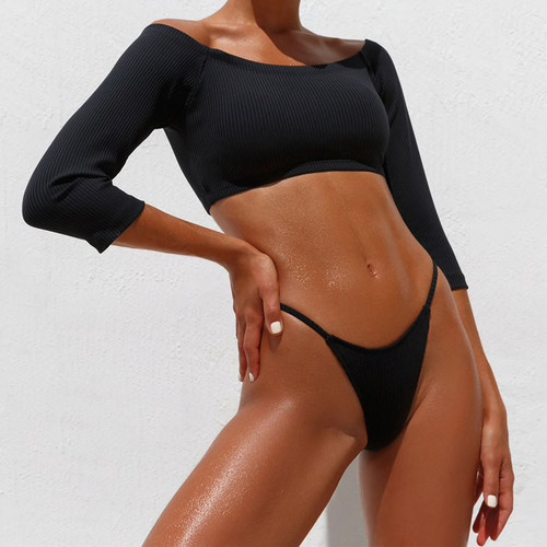 Girls Swimming Suit for Women Summer Biquinis Feminino 2019 Swimsuit High Waist Thong Sexy Top and Thong Set Solid