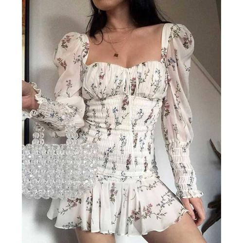 BOHO INSPIRED floral print summer Dress square neckline tied front slim sexy mini dress for women ruffles hem new 2019 vestidos