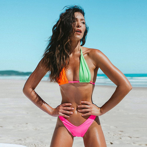 Two Piece Bandage Swimsuit Brazilian Thong Bikini Push Up Swimwear Women High Waisted Bathing Suits Bikinis 2019 Mujer Biquini