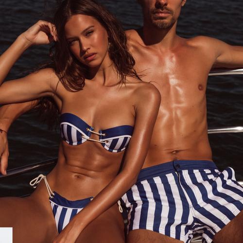 Sexy Beach Couple wear Women's Bandeau Bikini Set and Men's swimming trunks 2019 Striped Swimwear Swimsuit Bathing Suit Beachwear